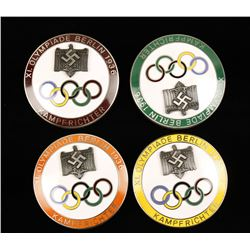 Lot of 4 Badges from the 1936 German Olympic Games