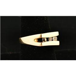 Mens 3 Stone Diamond Ring