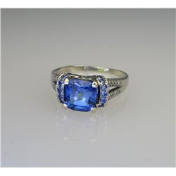 Princess Cut Created Blue Sapphire & Diamond Ring