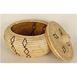 Ooham Lidded Basket with Geometric Design