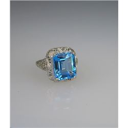 Alluring Victorian Style Swiss Blue Topaz Ring.