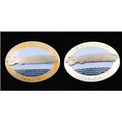 2 German WWII 1933 Graf Zeppelin Air Ship Badges