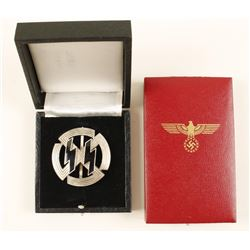 German WWII Badge and 2 Presentation Cases.