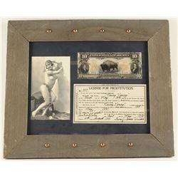 Framed Copy of 1891 License For Prostitution