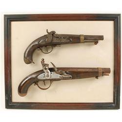 Framed Set of Wall Hanging Pistols