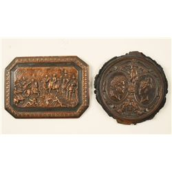 Lot of 2 Brass Relief Small Plaques