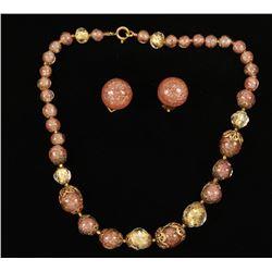 Vintage Italian Glass Beaded Necklace & Earrings