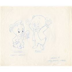 Original Production Drawing of Porky Pig & Nephew Cicero for Hallmark Greeting Card