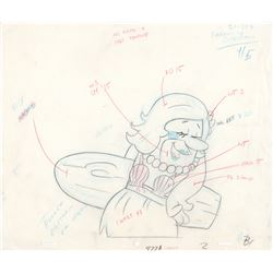 The Flintstones Barney Rubble with Surfboard Production Drawing for Fruity Pebbles Commercial