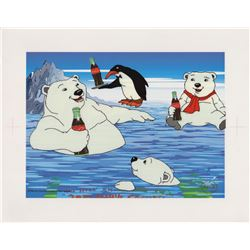 Limited Edition 1998 Sericel of Coca-Cola Polar Bears with Penguin