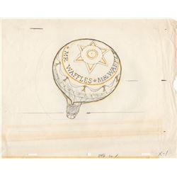 Production Drawing of Hot Air Balloon for 1960s Mr. Waffles Commercial