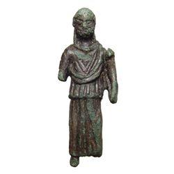 Roman bronze figure of a bearded male deity