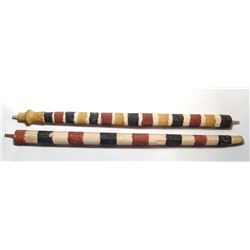 A pair of Egyptian painted wood funerary poles