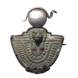 Silver brooch with Egyptian faience Aegis amulet