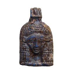 Beautiful gilded blue glass amulet of Hathor
