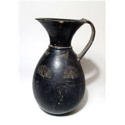 A large Etruscan Bucchero olpe