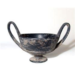 Etruscan Bucchero footed kantharos