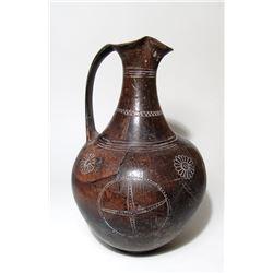 Beautiful Etruscan decorated Bucchero oinochoe