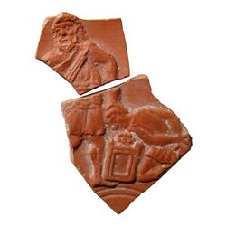 Roman red-ware sherds with Abraham sacrificing Isaac