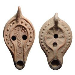 A pair of Roman ceramic lamps