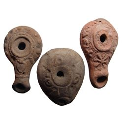Lot of 3 ceramic lamps from Roman Egypt