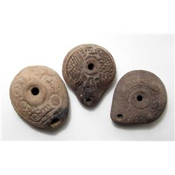 A lot of 3 Roman 'Frog' lamps from Egypt