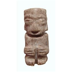 Mixtec green stone penate of a seated man