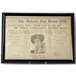 "Frmd Orig Newspaper ""Lusitania Toll Now 1,214"" May 1915"