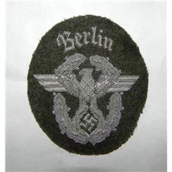 "NAZI FIELD POLICE OFFICER SHLDR PATCH-""BERLIN"" SILVER"