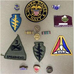 15 PC MILITARY COLLECTION-WWII-CURRENT-PATCHES, DEVICES