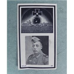 ORIG NAZI WWII FUNERAL CARD-W/PIC & IRON CROSS/HELMET