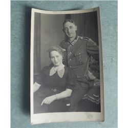 ORIG NAZI WEHRMACHT OFFICER & WIFE PHOTO POSTCARD