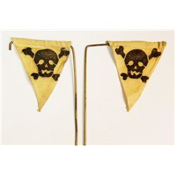 Replica ?  Nazi SS Yellow Skull & Bones Car Flags