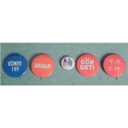 5 FOREIGN BUTTONS-1 WITH SCANDINAVIAN FLAG-ASIAN