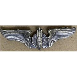 WWII US AAF BOMBADIER WINGS-STERLING-CRIMP BACK