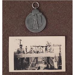 NAZI RUSSIAN FRONT MEDAL & PIC NAZI SECURITY NURENBURG