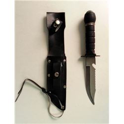 FIGHTING KNIFE W/SHEATH & COMPASS POMMEL