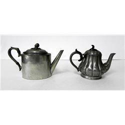2 Antique Pewter Teapots 1800's Bachelor Single Serving