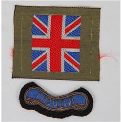 WWII BRITISH UNIFORM UNION JACK & UBIQUE PATCH