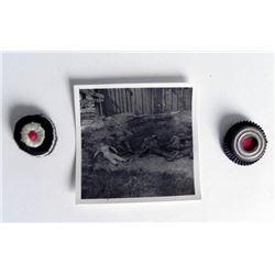 2 ORIG NAZI HAT COCKADES + PHOTO OF DEAD NAZIS