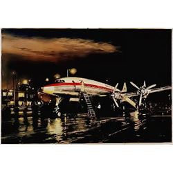 Aviation Art Night Departure Young Qantas Constellation