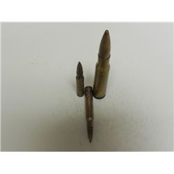 3 WWII RIFLE AND ARTILLERY BULLETS-ONE HAS US INSIGNIA