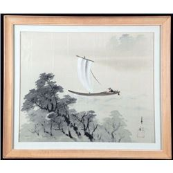 Chinese Silk Art Painting Boat Near the Shore -Framed