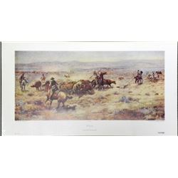 Charles M. Russell The Roundup Cowboy Art Print