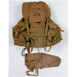 Vintage WWII US Army Backpack Rucksack Canvas Gas Mask