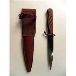 NAZI CLOSE COMBAT/BOOT KNIFE WITH LEATHER SHEATH