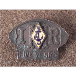 VINTAGE ILLINOIS NAVAL RESERVES 5 YEAR BADGE-PINBACK-