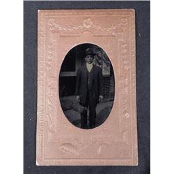 Antique Tintype Photo City Street Man German Beer Sign