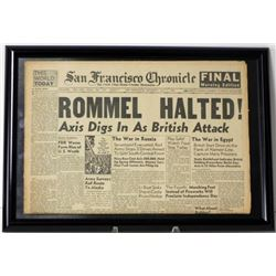 "Framed Original Newspaper ""Rommel Halted"" July 1942"