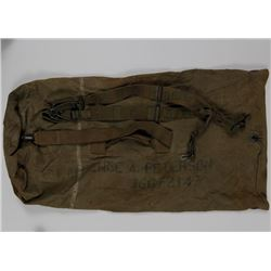 WWII US DUFFEL BAG AND CANVAS BACK PACK STRAPS DUFFLE